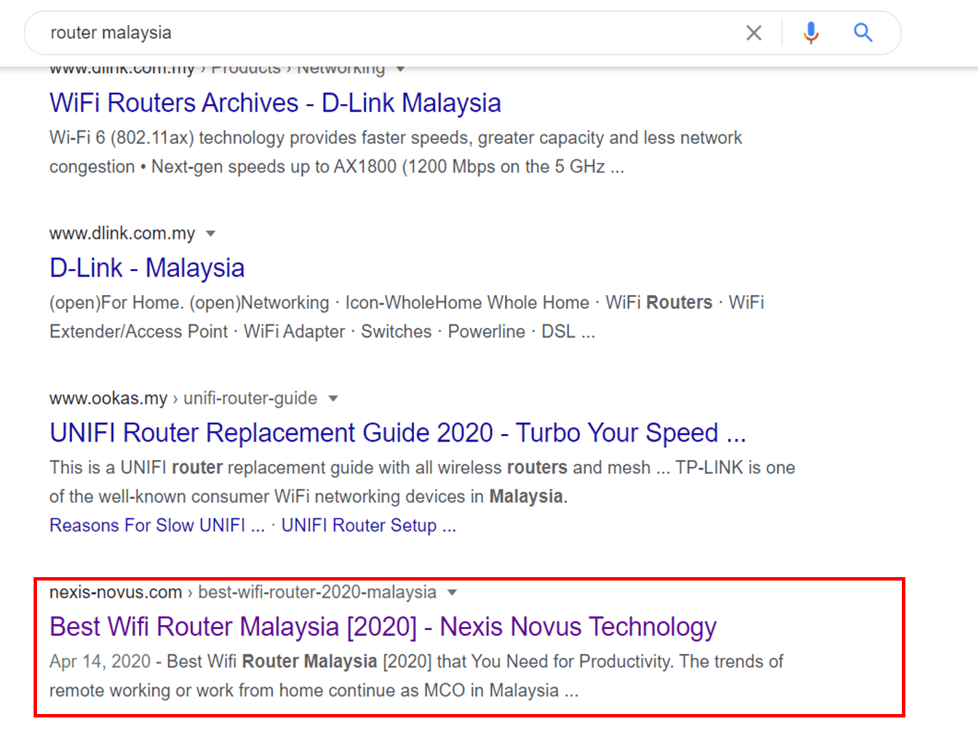 Router Malaysia Rank First Page by Nexis Novus